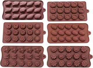 Bekith 6 Pack Non-stick Silicone Candy Molds - Silicone Molds for Chocolate Jelly Candy Cake DIY - Chocolate Molds Silicone Molds Hard Candy Mold Fat Bomb Molds