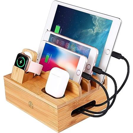 epzoee 7 in 1 充電スタンド 7台同時充電 卓上コードまとめる ケーブル収納ボックス スマホ充電台 (竹木製)