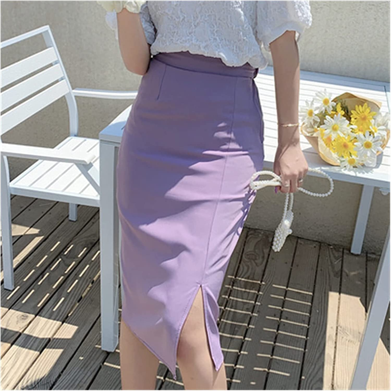 Summer Ladies Skirts Black Purple Professional All-match Bag Hip Dress (Color : Purple, Size : Large)