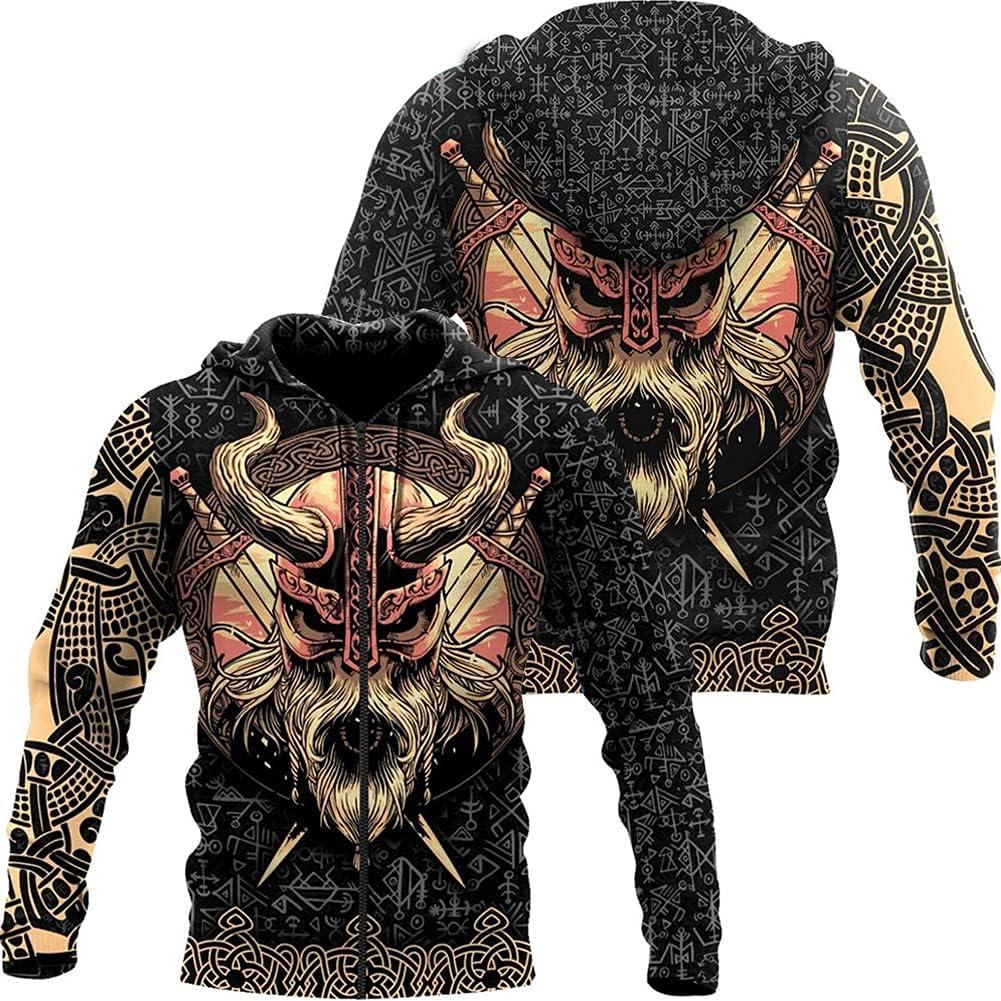 Men Women Hip Hop Viking Hoodie Harajuku Sweatshirt Pullover