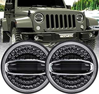 4X4FLSTC 7'' Round LED Headlight High Low Beam for Jeep Wrangler JK TJ LJ CJ Hummer H1 H2-1Pair