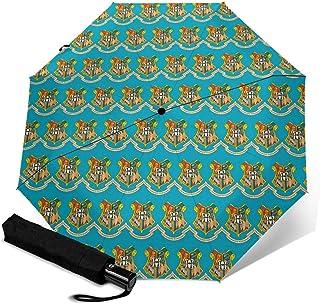 霍格沃茨哈利 波特 折叠伞 一键自动开闭【最新版&双层构造】耐强风 超防水 210t高强度玻璃纤维 防紫外线 隔热 结实 带伞盖