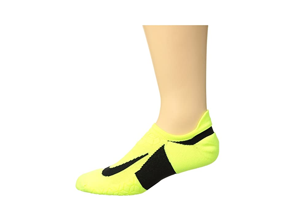 Nike Elite Cushion No-Show Tab Running Socks (Volt/Black/Black) No Show Socks Shoes