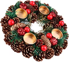BESPORTBLE 27cm Christmas Advent Wreath Pine Cone Wreath with Berries Advent Wreaths Ring Votives Candle Holder Season Can...