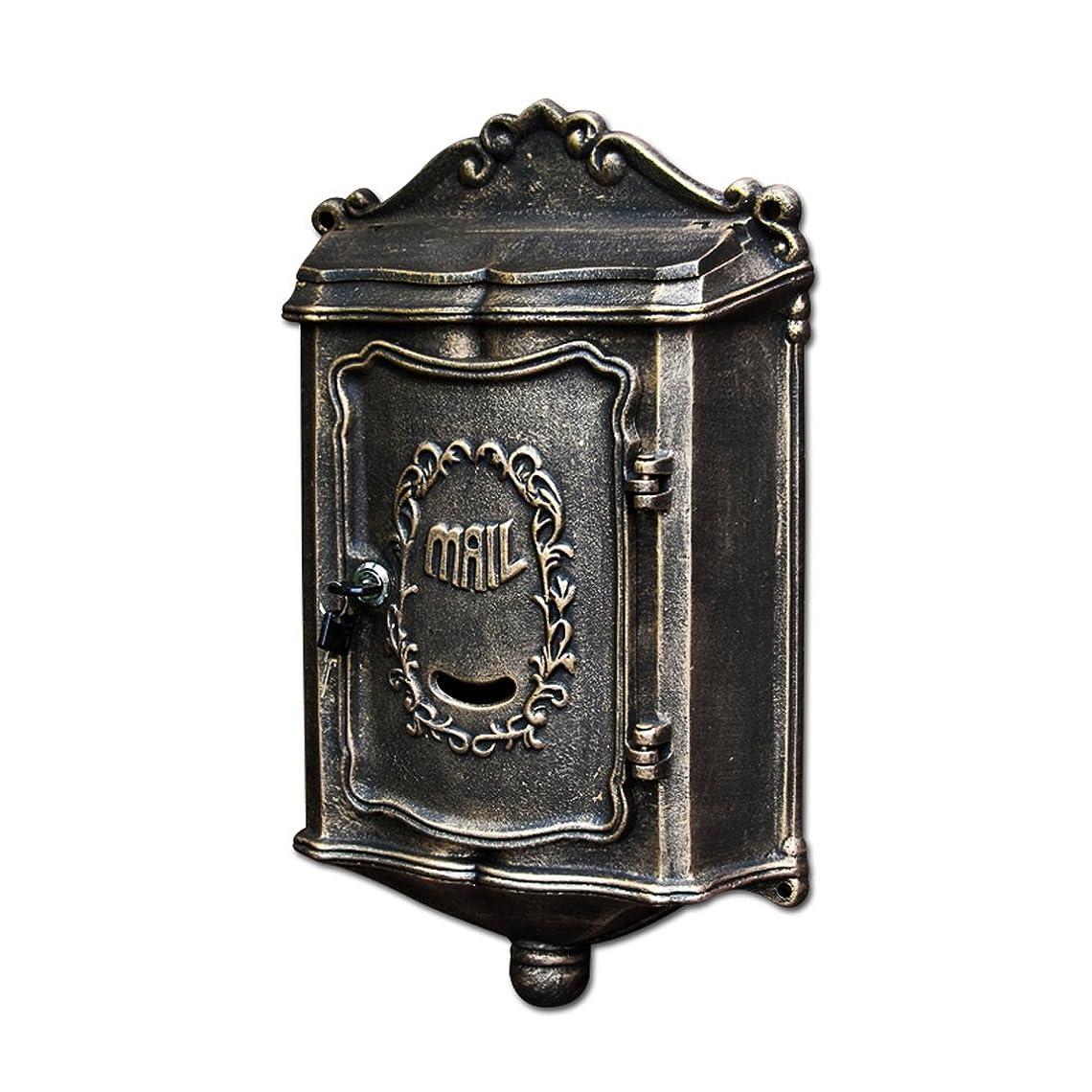 光沢鷲草HZBb ヴィラの郵便箱の外壁は、ヨーロッパスタイルのレトロなメールボックス、壁の装飾、アンティークゴールド