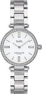 ساعة بمينا ابيض وسوار من الستانلس ستيل مع كريستالات للنساء من كوتش - 14503097