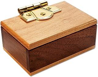 Bits and Pieces - The Mini Secret Gift Box Brainteaser Puzzle - Wooden Maple Walnut Hinged Money Puzzle Box - Doug Engel Brainteaser Measures 3-1/4