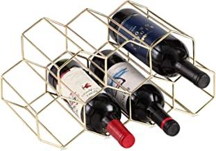 Buruis 9 Bottles Metal Wine Rack, Countertop Free-stand Wine Storage Holder, Space Saver Protector for Red & White Wines - Gold