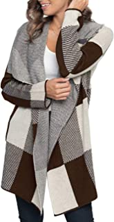 Womens Plaid Long Sleeve Lapel Collar Drape Knit Cardigan Open Front Sweater Coats