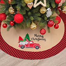 DAJAMAI Christmas Tree Skirt, 42inches Burlap Tree Skirt for Christmas Decoration, Classic Tree Skirt with Red and Black P...