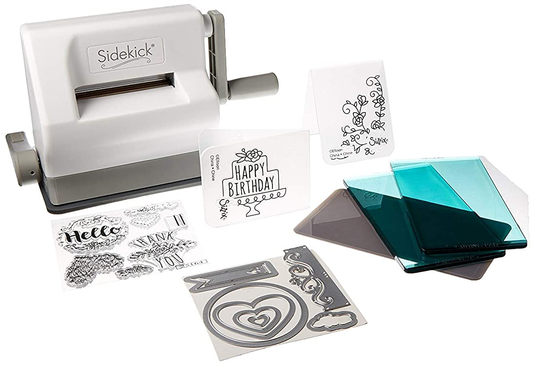 アンデス山脈確認する形Sizzix Sidekick 活版印刷機ミニ (幅2.5インチ) スタートアップセット付属 レタープレス ホワイト [並行輸入品]
