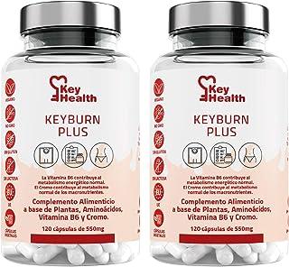 Key Health | Pack 2 Quemagrasas Potente KeyBurn | Complemento Alimenticio Termogénico para Adelgazar con L-Carnitina Guaraná Cafeína Te verde Vitamina B6 | 240 cápsulas | 2 Cápsulas al Día