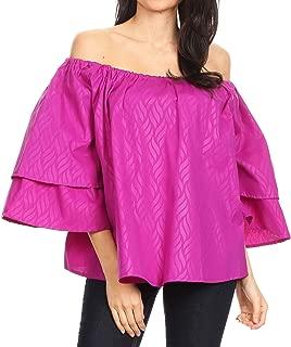 Abree Off-Shoulder Short Sleeve Blouse Top Ankara Wax Dutch African Print