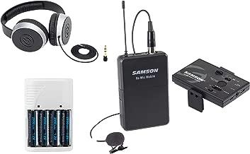 Samson Go Mic Mobile Digital Wireless System with LM8 Lavalier and Belt Pack Transmitter + Samson SR550 Over-Ear Studio Headphones + 4 AA Batteries & White Charger