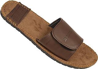DRUNKEN Men's Casual Velcro Brown Flip Flop Slide Sandal