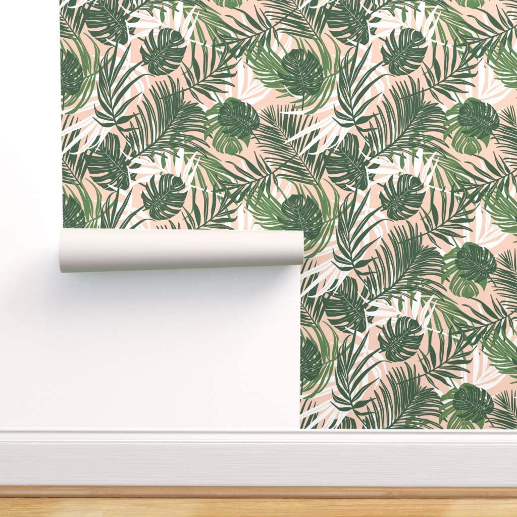 Spoonflower Pre-Pasted お買得 Removable Wallpaper Foliage 実物 Tro Tropical