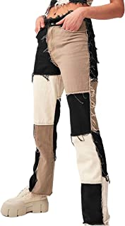 Women's Patchwork Pants Hight Waist Distressed Straight...