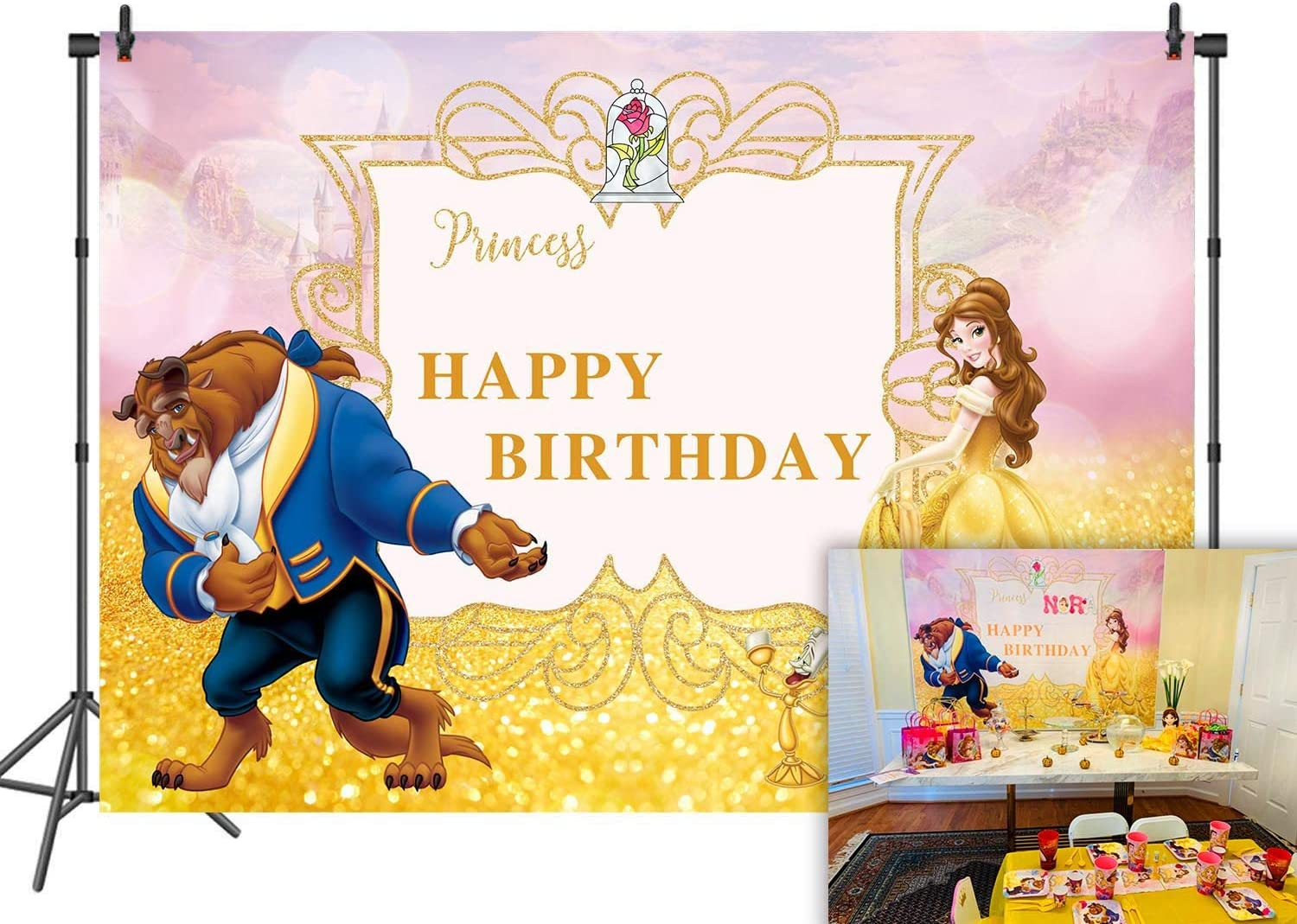 Beauty and The Beast Max 70% OFF Photography Children Fashion Backdrop for Bir Happy