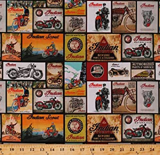Cotton Indian Motorcycles Vintage Signs Postcards Bikes Racing Transportation Cotton Fabric Print by The Yard (D673.56)