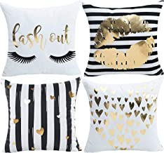 misaya Bronzing Throw Pillow Cover Eyelashes & Lips & Hearts & Striped Hearts Decorative Pillow Case Only for Living Room, Set of 4