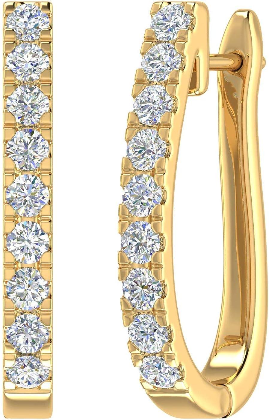 1/4 Carat to 1 Carat Diamond Hoop Earrings In 14K Gold