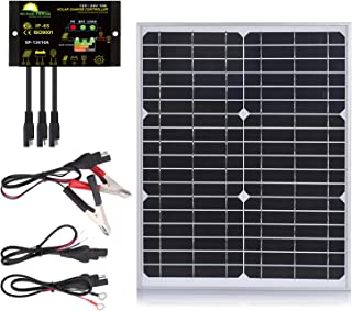 SUNER POWER 20 Watts Mono Crystalline 12V Off Grid Solar Panel Kit - Waterproof 20W Solar Panel + Photocell 10A Solar Charge Controller with Work Time Setting + SAE Connection Cable Kits