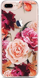 Coolwee Clear iPhone 8 Plus Case,Rose Case for iPhone 6 Plus 7 Plus for Women Girls Cute Slim Thin with Soft TPU Bumper for Apple iPhone 6s Plus (5.5 inch)-(Fleur Series) 3D Floral Purple