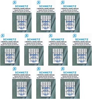 50 SchmetzMicrotex Sewing Machine Needles -size 70/10- Box of 10 cards