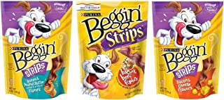Purina Beggin' Strips Dog Treats 3 Flavor Variety Bundle: (1) Bacon & Peanut Butter, (1) Bacon & Beef, and (1) Bacon & Cheese, 6 Oz. Ea. (3 Total)