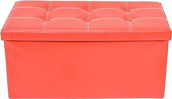 Code RE6156 rebecca mobili Pouf Organizador Polipiel Con Tapa Naranja Duradero Dormitorio
