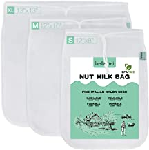 Bellamei Nut Milk Bag Reusable 3 Pack 200 Micron Nut Bags For Almond/Soy Milk Greek Yogurt Professional for Cold Brew Coff...