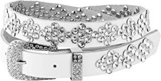 Ladies Fashion Studded Western Crystal Berry Rhinestone Bling Cowgirl Leather Belt