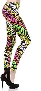 Multi Color Animal Print Bright Leggings 1980s Pants Zebra Cheetah Costume