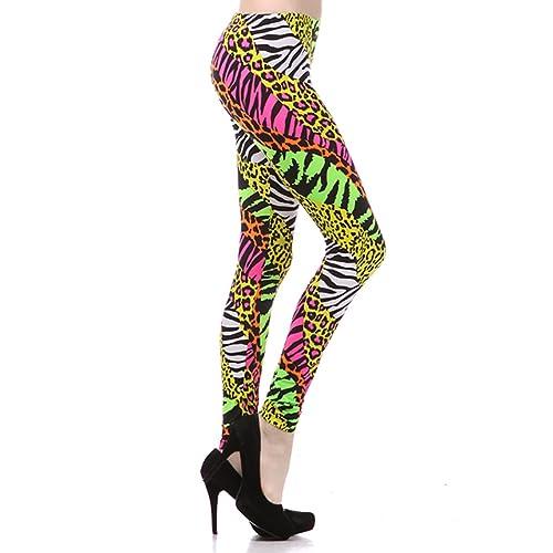 56e103419f NeonNation Multi Color Animal Print Bright Leggings 1980s Pants Zebra  Cheetah Costume