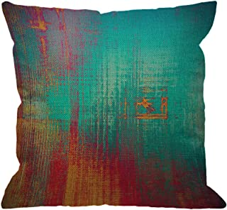 HGOD DESIGNS Abstract Throw Pillow Cover,Vintage Feeling Aged Texture with Color Blue Cyan Yellow Red Purple Pink Decorative Pillow Cases Linen Square Cushion Covers for Sofa Couch 18x18 inch