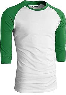 TL Men's Baseball Crew Neck Cotton Long or 3/4 Sleeve Essentail Raglan Tee Shirts