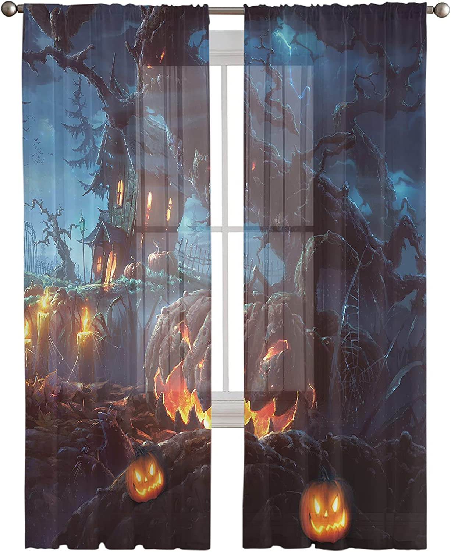 Sheer Curtains 72 Regular dealer Inches Long Haunte Halloween Panels Some reservation Pumpkin 2