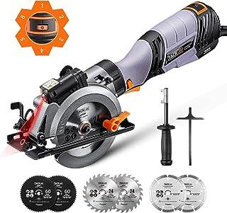 TACKLIFE Sierra Circular Avanzada, 750 W, 6 Velocidades, 6 Cuchillas, 125 mm y 115 mm, Mango de Metal, Guía Láser, Profund...