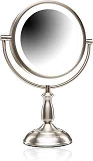 Ovente 8.5 inch SmartTouch Cool, Warm, Natural LED Lighted Mirror, Tabletop Vanity Mirror, 1x/7x Magnification, Nickel Brushed