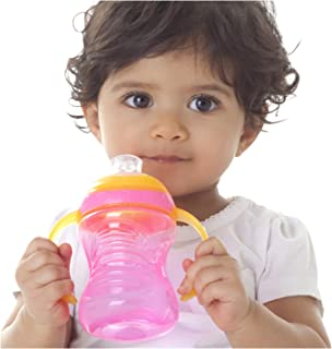 Nuby 2-Pack Two-Handle No-Spill Super Spout Grip N' Sip Cup, 8 Ounce, Colors May Vary