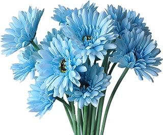 cn-Knight Artificial Flower 12pcs 22'' Long Stem Silk Daisy Faux Mums Flower Chrysanth Gerbera for Wedding Bridal Bouquet Bridesmaid Home Decor Office Baby Shower Prom Centerpiece(Blue)