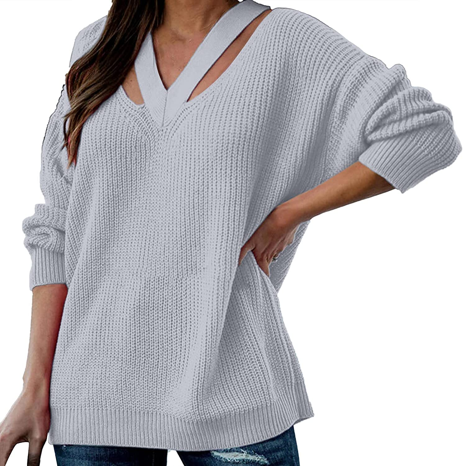 UOFOCO Plus Size Sweaters for Women Cold Shoulder Tops Halter Neck Backless Casual Loose Pullover
