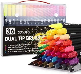 IFORU Plumones Punta de Pincel 36 Colores, Rotuladores de Dibujo con Doble Punta(0.4mm/1-2mm), Rotuladores Acuarelables No...