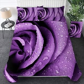Sleepwish 3Pcs Duvet Cover Set Purple Violet Rose Flower Petals 3D Pattern Girls Women Bedding Sets Home Textiles Queen Size Quilt Cover and 2 Pillowcases