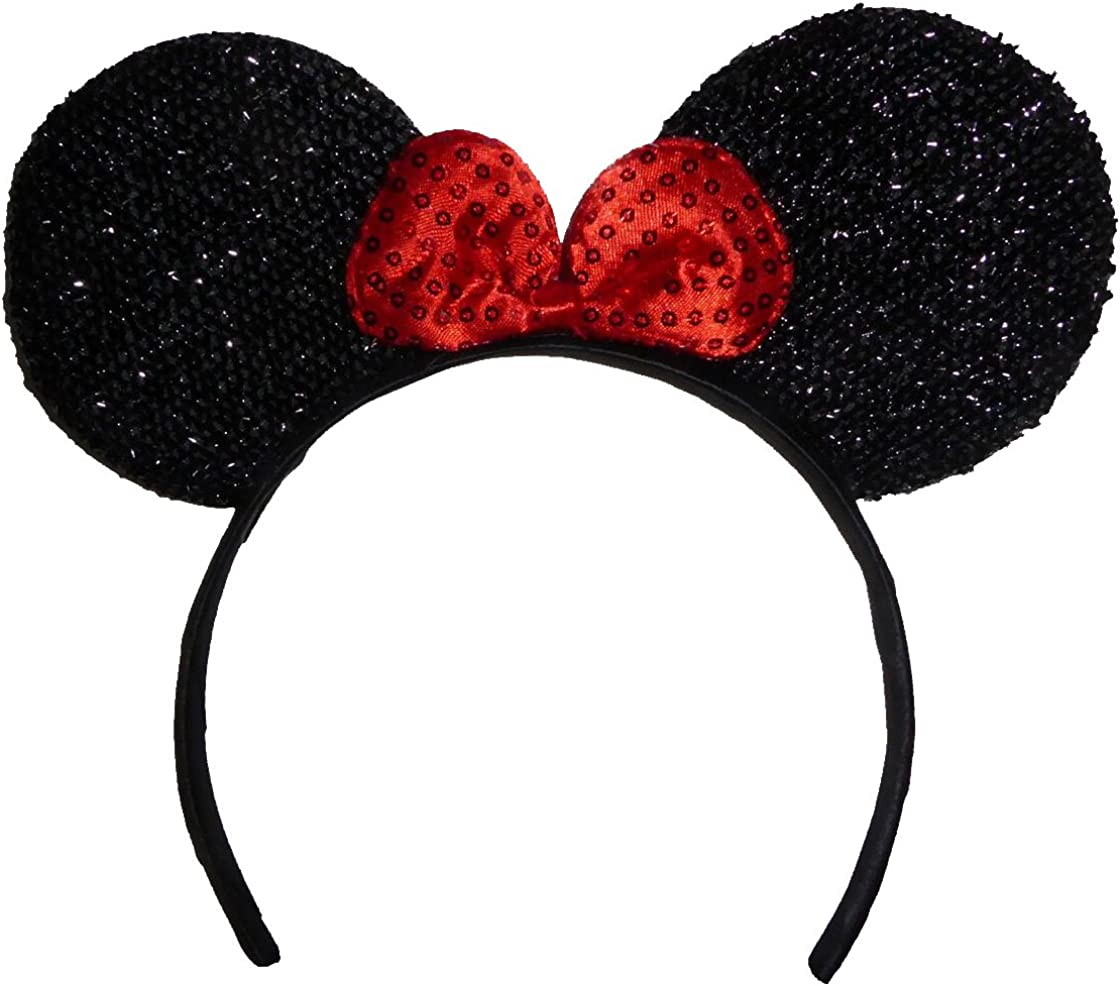Funfash Brand Cheap Sale Venue Halloween Max 86% OFF Minnie Mouse Ears Costume Headband Sequins Red