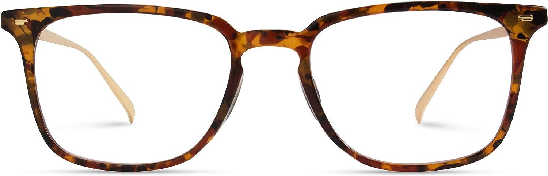 WearMe Pro - Modern Square Style Metal Frame Blue Light Blocking Computer Glasses (Mix Brown Tortoise/Gold)