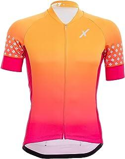 CHILLAX MODE Cycling Jersey Short Sleeve, 3 Reflective Rear Pockets, Full YKK Zipper, Unisex, Orange, Pink