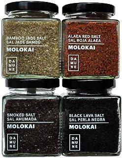 Sales Gourmet Molokai-Hawai: Sal Perla Negra Molokai (200g), Sal Roja-Alaea Molokai (200g), Sal Jade Bambú Hawai / Molokai – 200g, Sal Ahumada Molokai (200g)