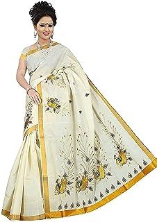 ساري Kerala Kasكافو مطرز بالذهب للنساء (عمل كامل) مع بلوزة للجري