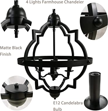 Riomasee 4-Light Orb Chandelier Rustic Farmhouse Chandeliers Industrial Black Metal Chandelier Dining Room Lighting Fixtures